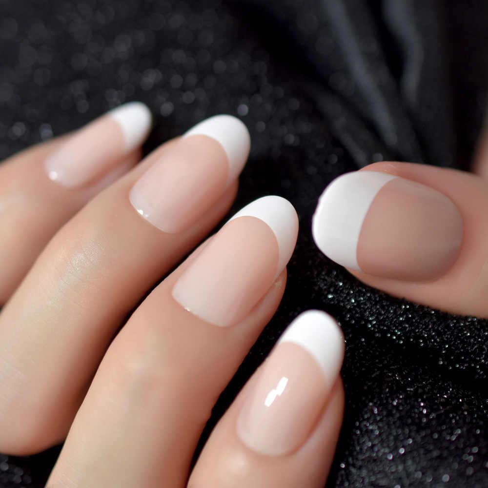 Nail Art Salon Oval Acrylic French Nail Kit Real Medium Length Grace Oval Fake Nails French 24 Tips