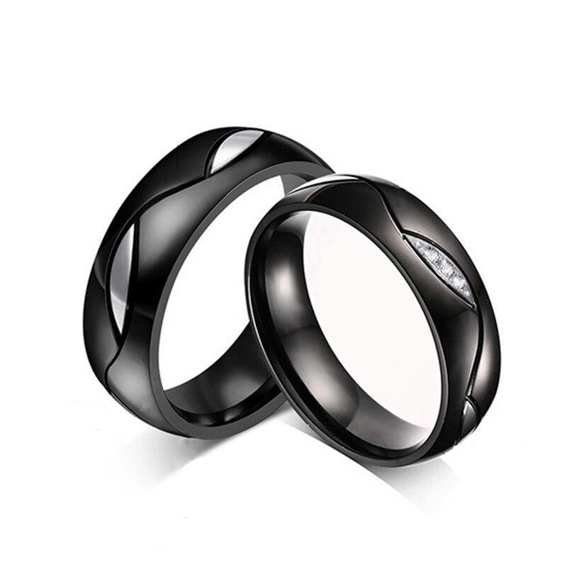 Качество циркония Пару Кольцо для Для женщин Для мужчин ip gold покрытие Кольца из нержавейки черный Титан обручальное кольцо подарок для люби...