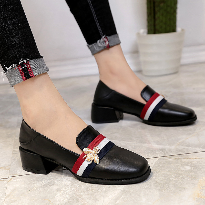 Single Shoe Summer Woman 2018 New Pattern Dawdler Le Fuxie Square All-match Crude With Korean One Pedal Small Leather Shoes недорого