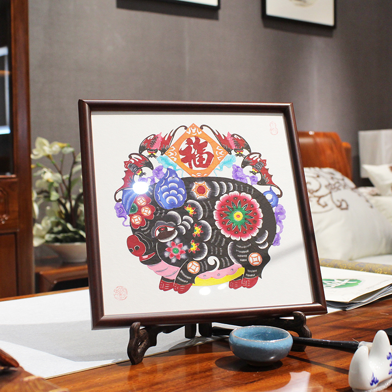 Chinese Handmade Paper Cut Features Crafts Lucky Pig Paper Cutting Vintage Wood Photo Frame Living Room Home Decor Wedding Gifts - 3