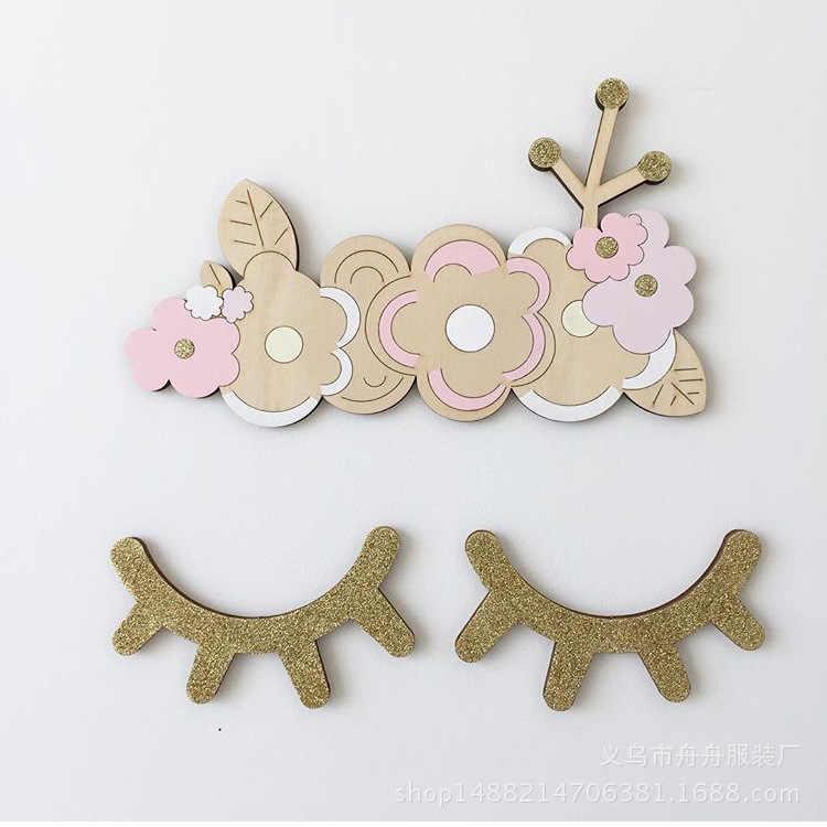Скандинавский стиль милые сонные глаза ресницы деревянные наклейки на стену Радужный цвет украшения для детской комнаты деревянные украшения спальни фон