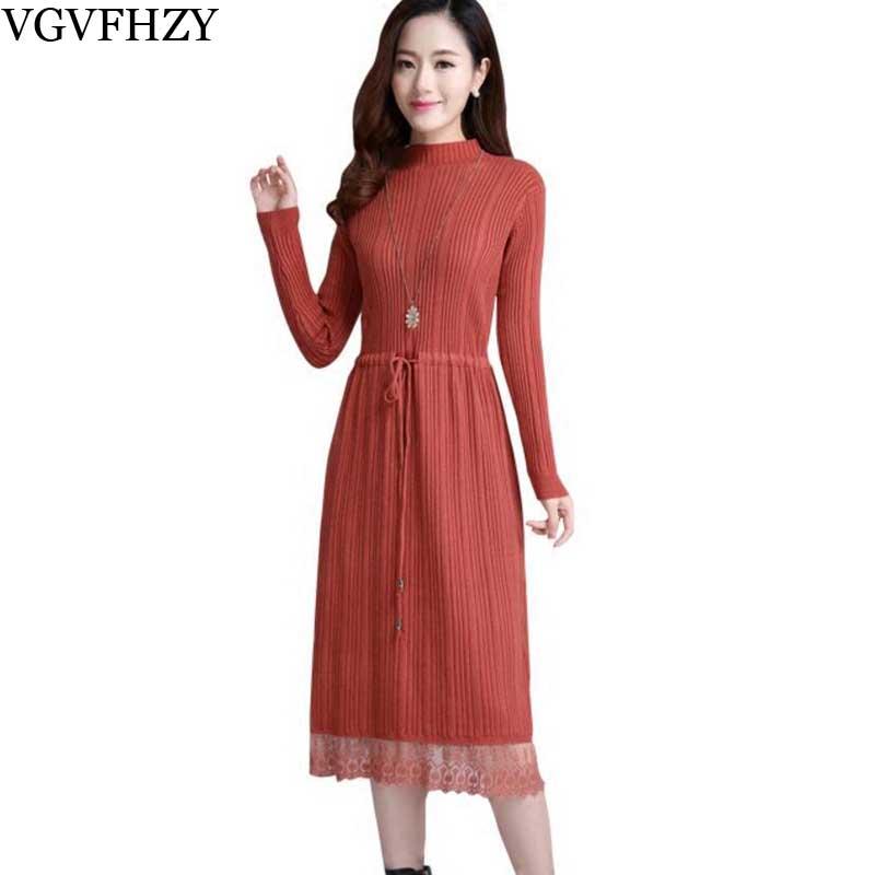 Haute qualité longue robe pull hiver col haut cachemire robes à manches longues vintage dentelle patchwork vêtements robe droite 764