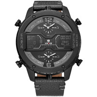 WEIDE Men Analog Watch Waterproof Military Leather Sports Watches Backlight Display Multiple Time Zones Wristwatches Relogio