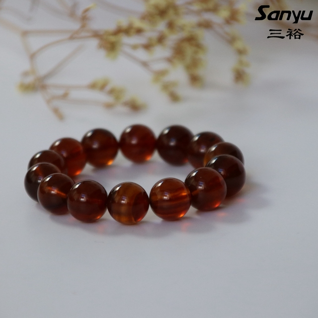 22.7g+14beads+diameter14.3mm+Natural burmese amber men bracelets certificated+Red brown color+burmite+handmade+unique gift M03