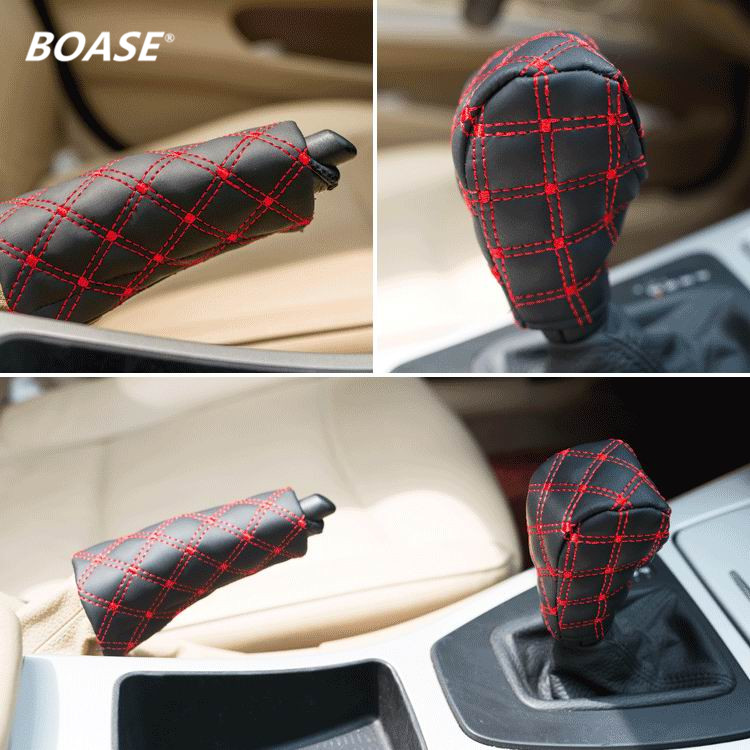 2PCS/set 2015 New Auto Cars PU Hand Brake Case & Gear shift Knob Cover case car interior accessory