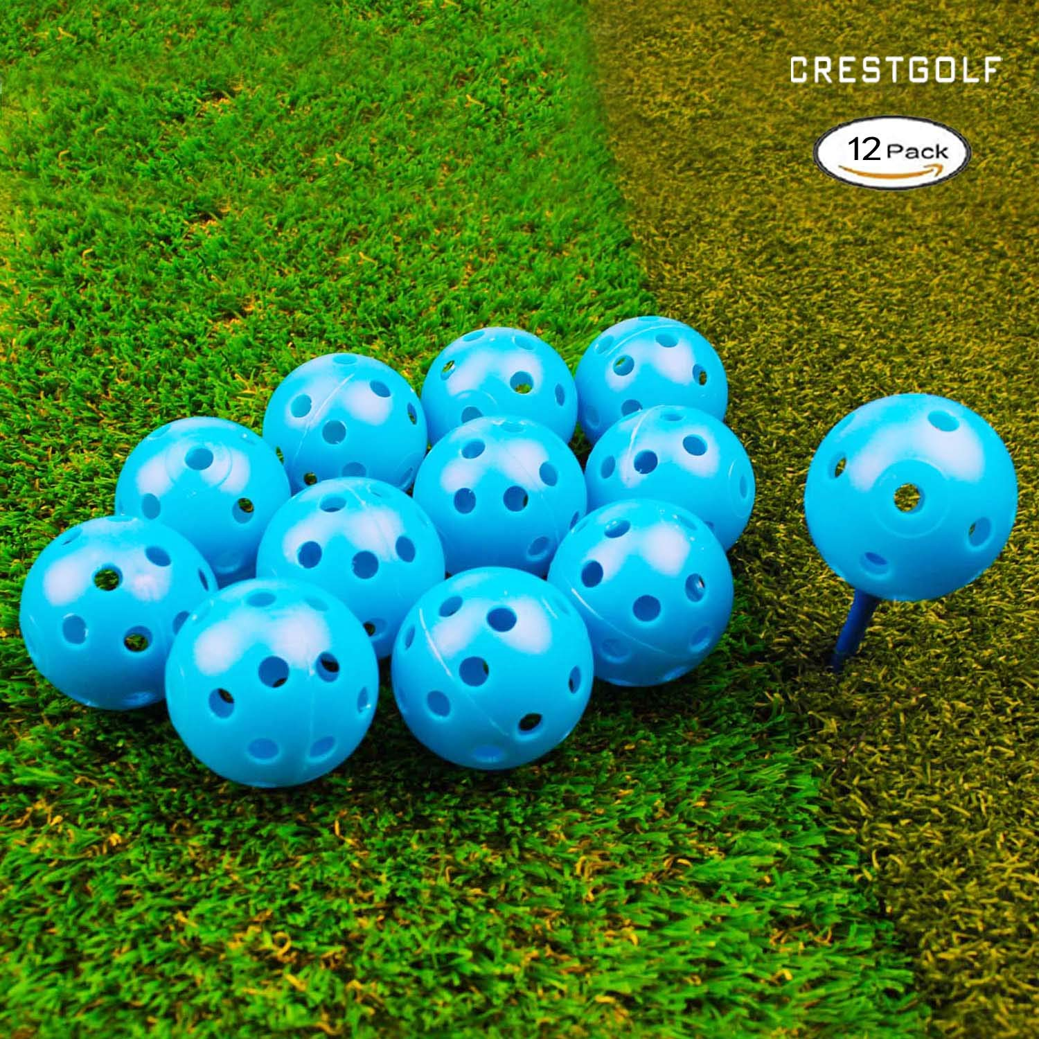 CRESTGOLF 100PCSx40mm Plastic Golf Training Balls-Airflow Hollow Golf Balls For Driving Range,Swing Practice,Home Use,Pet Play