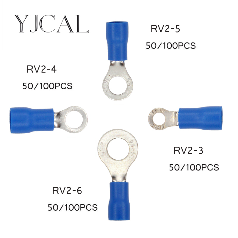 все цены на Crimp Terminal RV2 -3 -4 -5 -6 Combination 50PCS 100PCS Blue Cable Wire Connector Ring Insulated Terminal Block A.W.G 16-14 онлайн