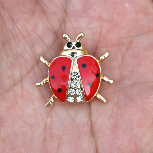 Lady Bug Rhinestone Brooch