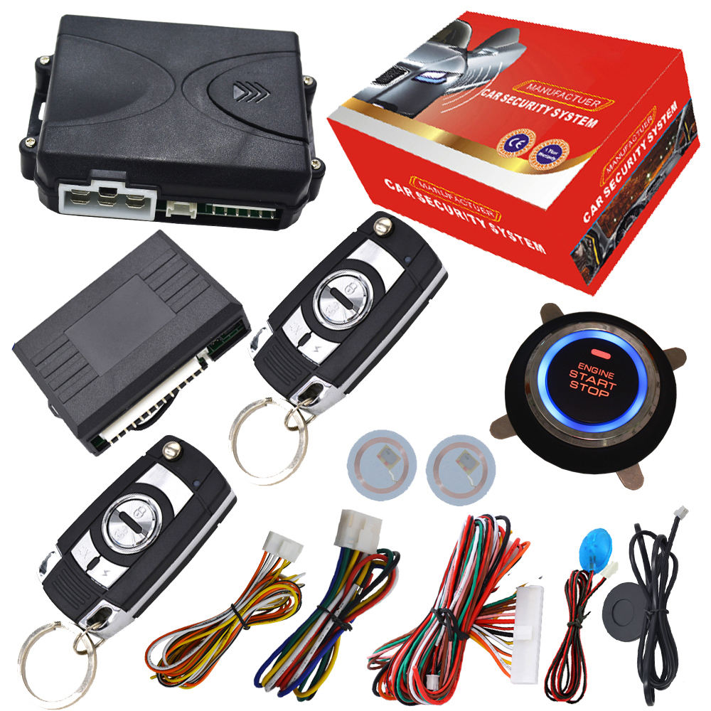 RFID car alarm system with remote start stop and push button start stop function RFID arm or diarm engine support diesel car rolling code rfid pke car alarm system push button start stop remote engine start passive keyless entry smart password keypad