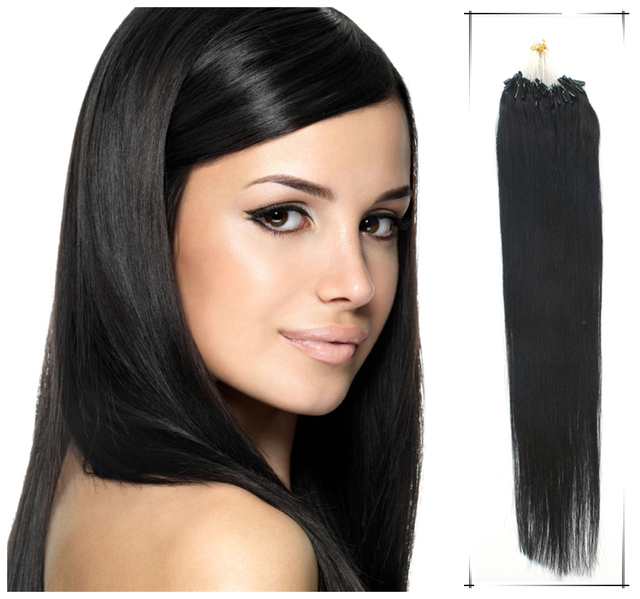 Permanent Hair Extensions Straight Human Loops Weaves 22inch 55cm True Glory 70g