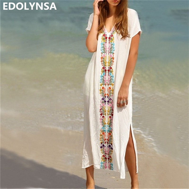 Embroidered Tape Trim Symmetric Flower Print Casual Dress Summer White V Neck Long Sleeve Side Split Long Dress Plus Size #N18 outfits para playa mujer 2019