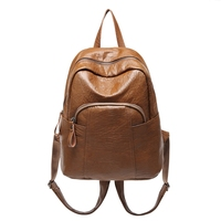 Women Soft Mutipocket Anti theft for Travel School Bag Solid Color PU Leather Vintage Backpack