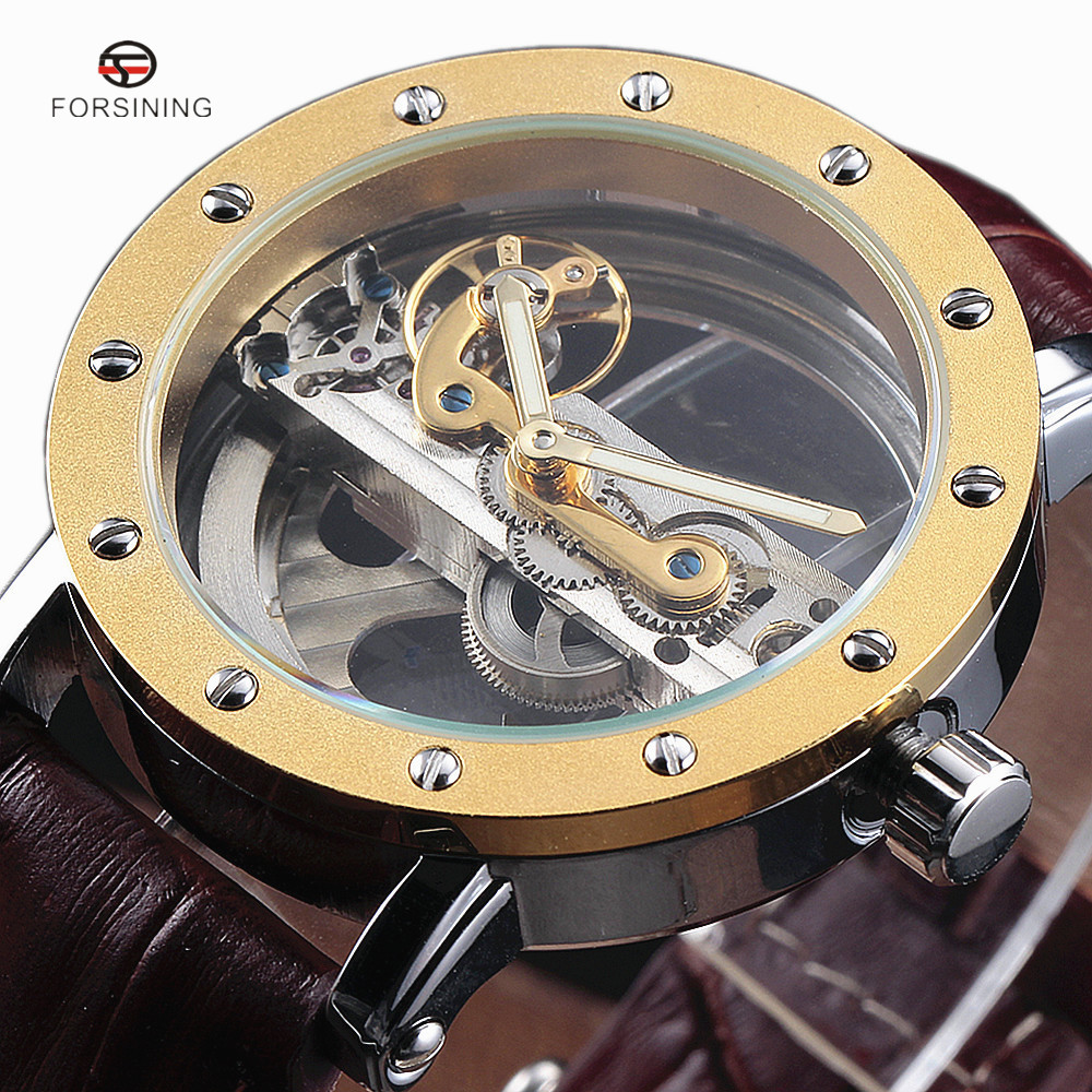 Forsining Gold Hollow Automatic Mechanical Watches Men Luxury Brand Leather Strap Casual Vintage Skeleton Watch Clock relogio forsining tourbillon designer month day date display men watch luxury brand automatic men big face watches gold watch men clock