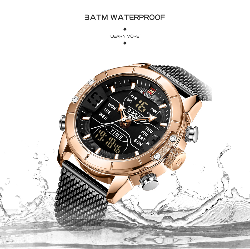 NAVIFORCE 2019 Men Military Waterproof LED Quartz Sport Watches Military Stainless Steel Mesh Male Business Relogio Masculino  (6)