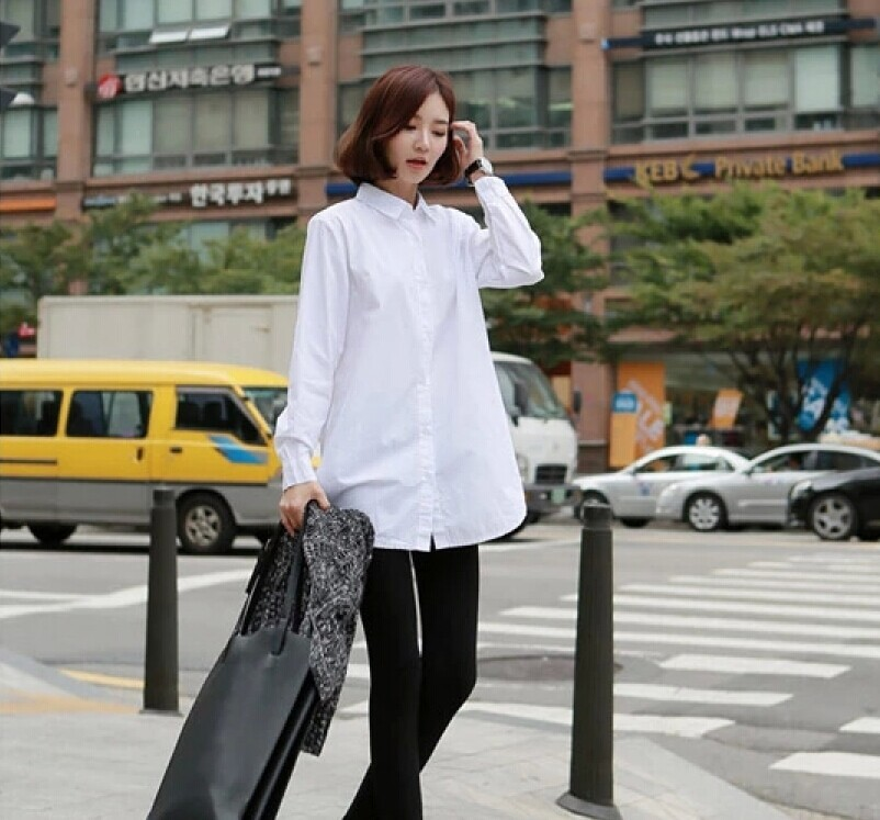 of 2015 women wear white shirt cotton loose big code in the long ...