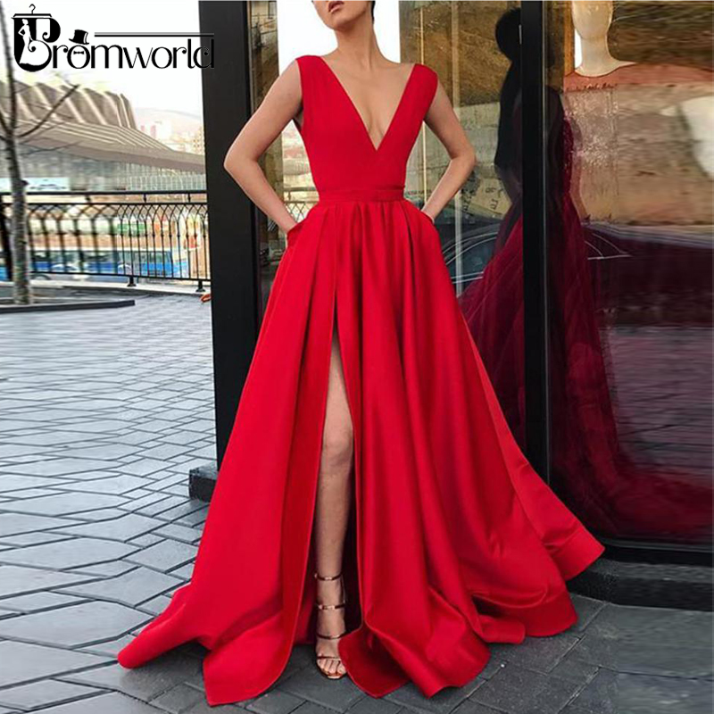 Simple Red Prom Dresses 2019 V-Neck Satin High Slit Evening Party Dress With Pockets Long Prom Gown Vestidos De Festa