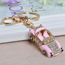 Cool Sports Roadster Car Crystal Keychain Handbag Pendant Fashion Key Ring for Women Bag Gold Holder Chains R34