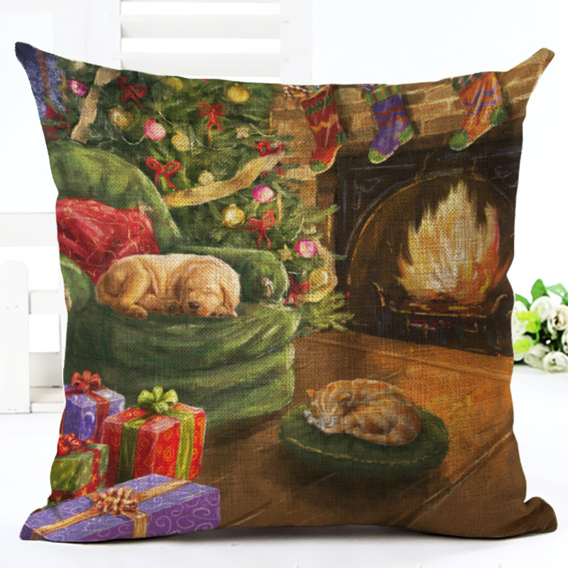 Christmas Style Cartoon Colorful Cute Dog sled Print Cushion Cover Decor Cojines Seat Throw Pillow Printed Cotton Linen Square