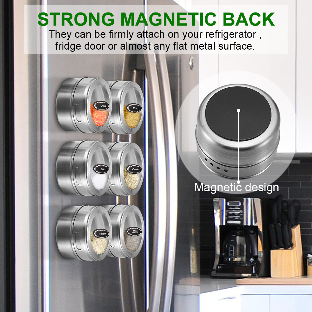 Pots Storage-Container Houseware Spice-Jar Condiment-Holder Magnetic Kitchen Stainless-Steel
