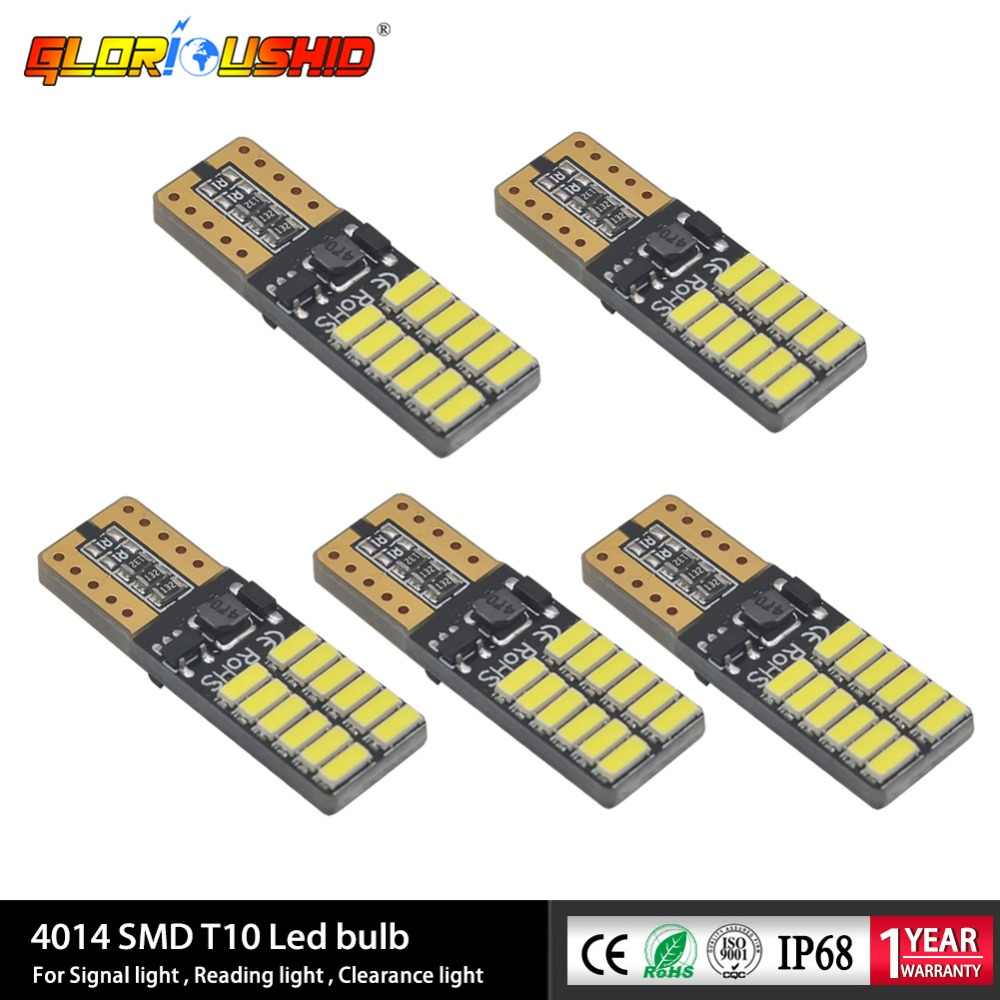 5pcs 6000K 12V Signal Light License Plate Light Clearance Lights Canbus T10 LED bulbs with 4014SMD Interior Light
