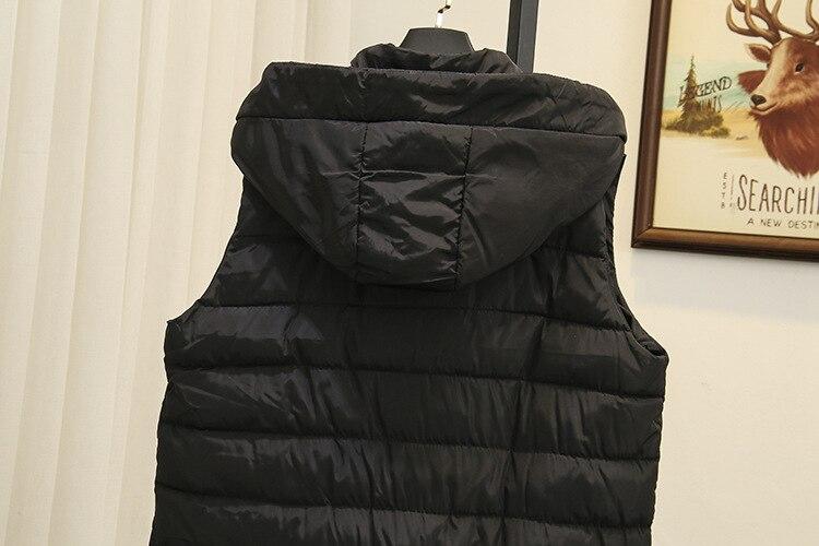 ยาวฤดูหนาวเสื้อกั๊กผู้หญิงแขนกุดพลัสขนาด 5XL Casual Hooded หนาเสื้อแจ็กเก็ตสีดำ SWM1137-ใน เสื้อกั๊ก จาก เสื้อผ้าสตรี บน   3