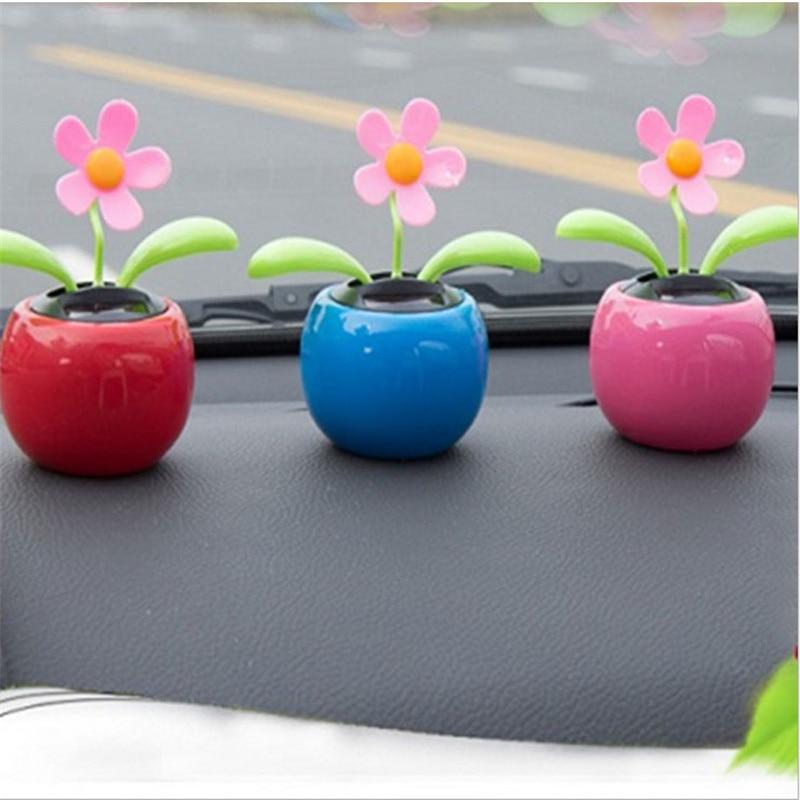 Auto solar ornamento decoração do carro energia flor vaso de flores interior do carro brinquedo presentes