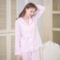 Ladies Button Top Cotton Pajamas Set Two Piece Long Sleeved Pink White Striped Pajamas Pyjama Femme