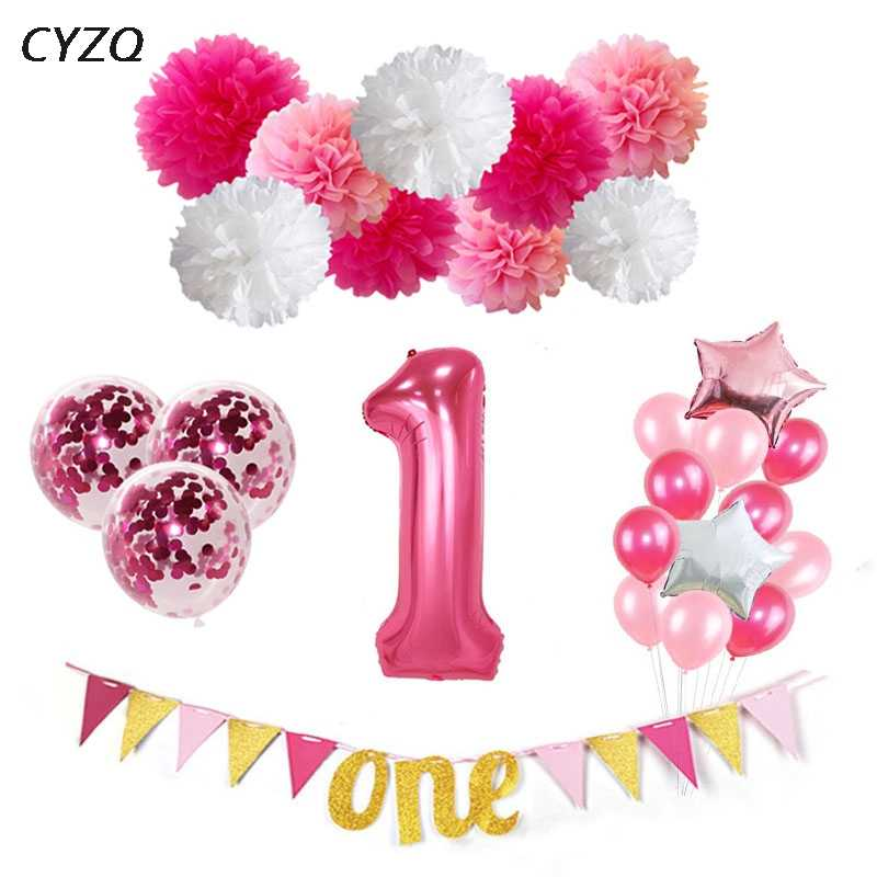 1st Birthday Balloons I AM ONE Paper Banner Pink Foil Baby Girl Party Decoration