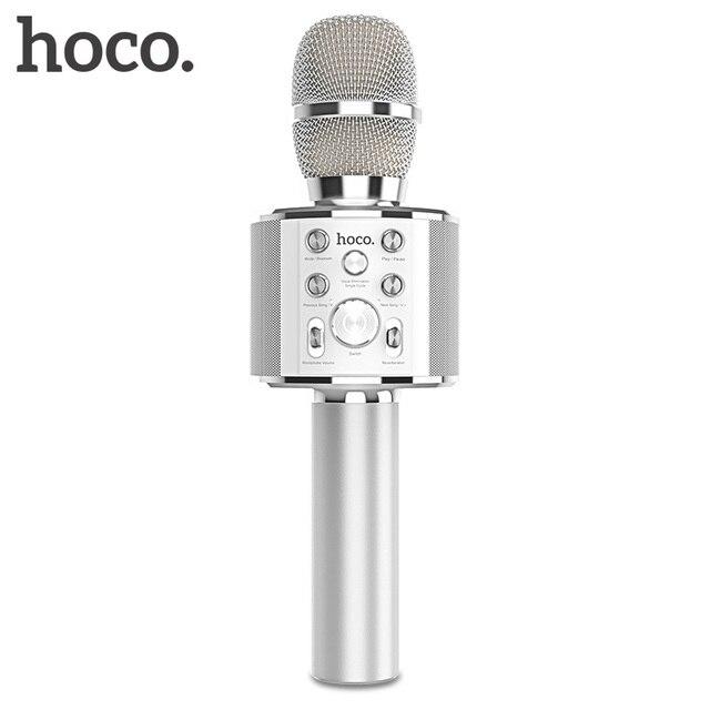 HOCO ميكروفون الكاريوكي بلوتوث اللاسلكية مكثف مايكروفون هاتف محمول احترافي KTV ميكروفون مشغل موسيقى ل iOS أندرويد