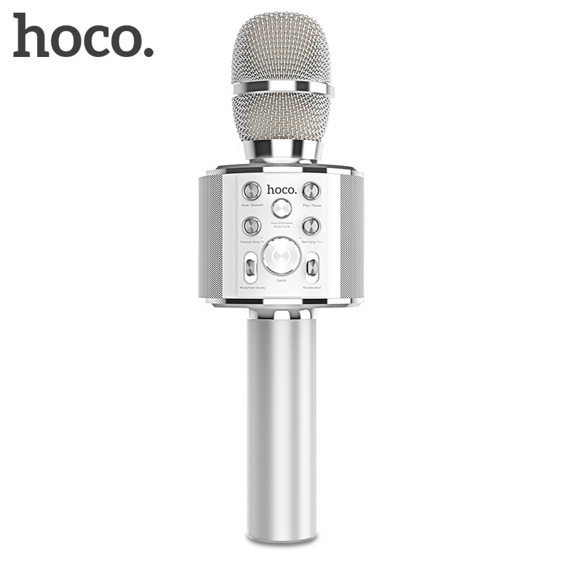 Micrófono de karaoke HOCO con Bluetooth, condensador inalámbrico, microfone, teléfono móvil profesional, micrófono KTV, reproductor de música para iOS y Android