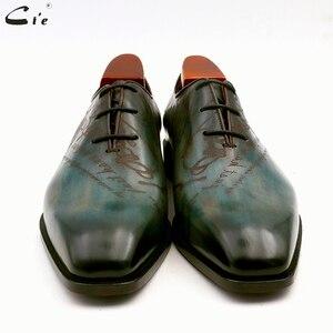 Image 3 - Cie bout carré uni coupe entière patine paon pleine fleur véritable cuir de veau oxford hommes chaussure en cuir sur mesure hommes chaussure ox15
