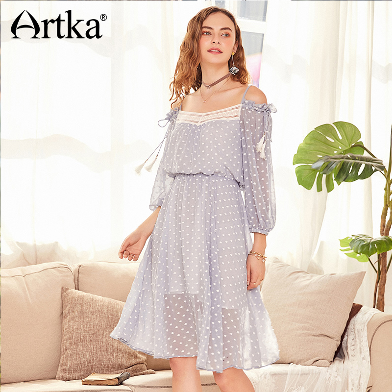 ARTKA Summer 2018 New Women Bohemian Floral Slash Neck Strap Tassel Lace Patchwork Slim High Waist
