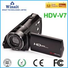Freeshipping home use HDV-V7 digital video camera 3.0″ rotatable LCD display 24mp photo camera 32GB memroy HD video camcorder