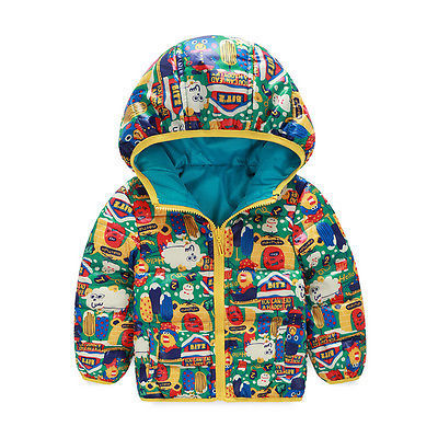 Kids Boys Infants Padded Coats Hooded Winter Warm Down Jacket Snowsuits Outwears 2016 new fashion