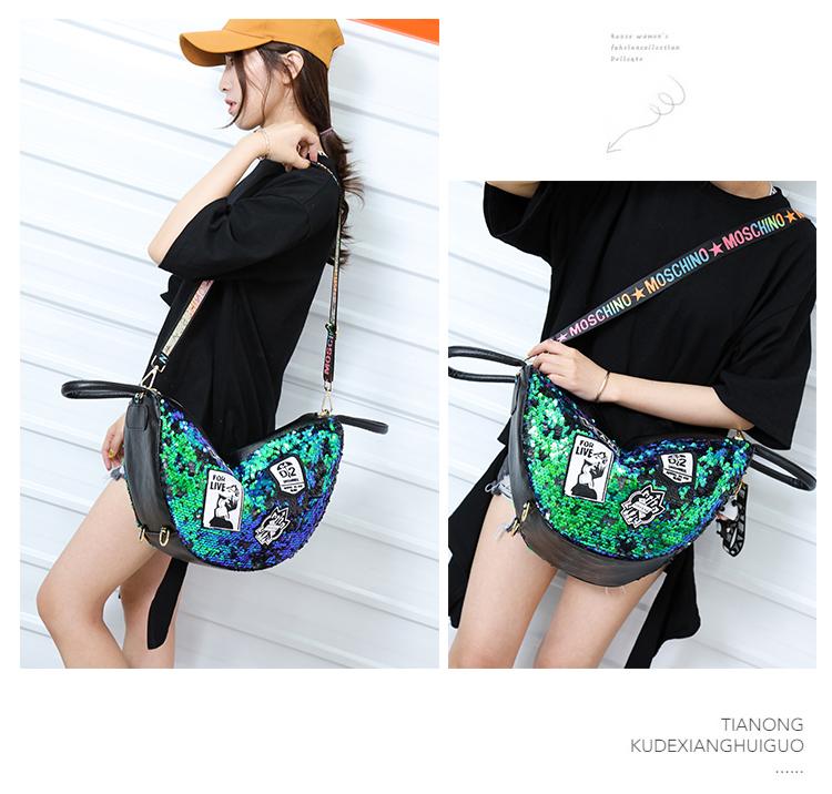 backpack women Fashion Women Bling Shiny Sequins Sparkling Shoulder Bags Larger Capacity Drawstring Bag backpack 74