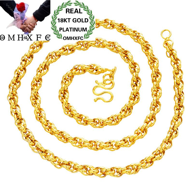 OMHXFC Wholesale European Fashion Woman Female Party Birthday Wedding Gift Long 50cm Twisted Real 18KT Gold Chain Necklace NL21OMHXFC Wholesale European Fashion Woman Female Party Birthday Wedding Gift Long 50cm Twisted Real 18KT Gold Chain Necklace NL21