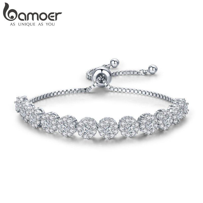 BAMOER Classic New Round Cubic Zircon Silver Color Elegant