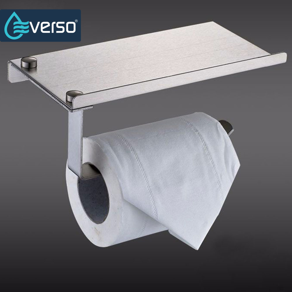 EVERSO Wall Mounted Toilet Paper Holder with Roll Tissue Rack Stainless Steel Bathroom Toilet 304 Roll paper holder with shelf