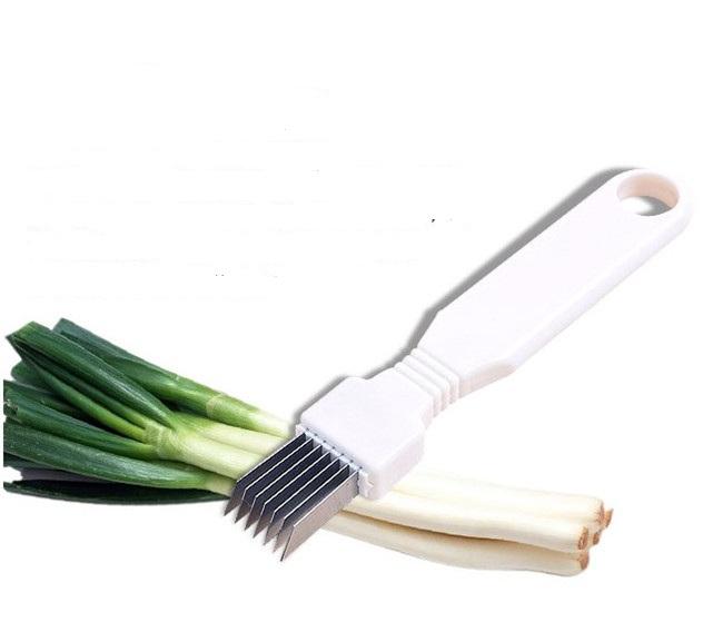 Stainless Steel Green Spring Onion Vegetable Shredder Handle Slicer Easy O3N6