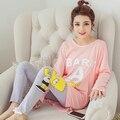 Mulheres Caráter Encantador Doce Pijamas Conjuntos pijamas de Algodão das Mulheres da Moda além De Manga Longa Pijamas Pijamas home wear roupas