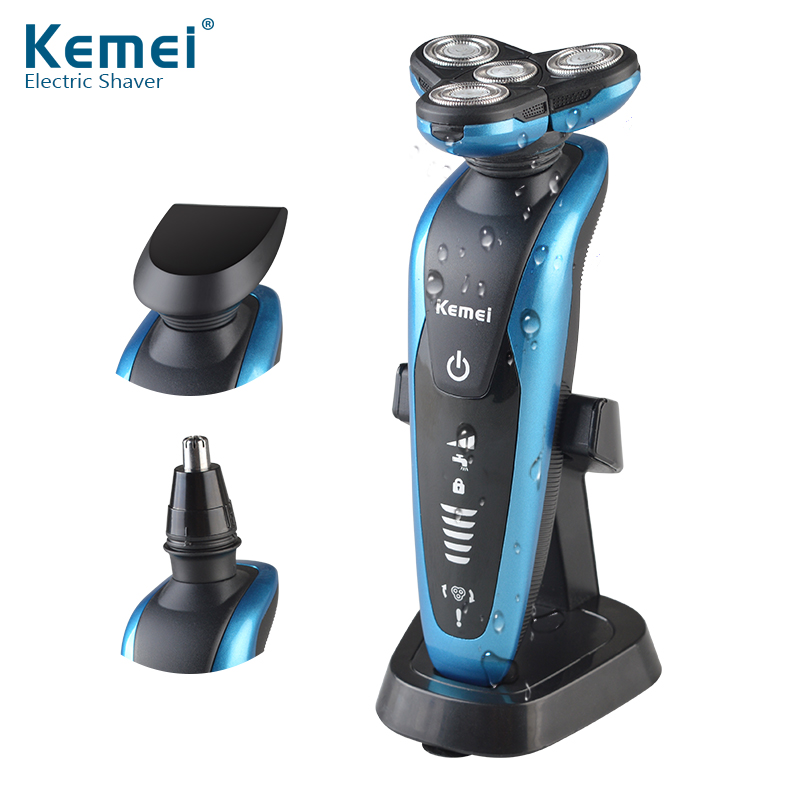 Kemei 3 in1 Washable Rechargeable Electric Shaver 3D Floating 3 Blades Electric Shaving Razors Multifunction Men Face Care 58892 queenme waterproof five blades wet dry electric shaver for men with folding charging base rechargeable washable face beard