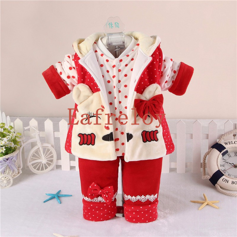 Baby Girl Clothes Set Warm Coat+Vest+Trousers Infant Clothing for 0-2 Years Winter Newborn 3Pieces Cartoon Cotton Thick Eafreloy newborn baby boy girl 5 pcs clothing set cotton cartoon monk tops pants bib hats infant clothes 0 3 months hight quality
