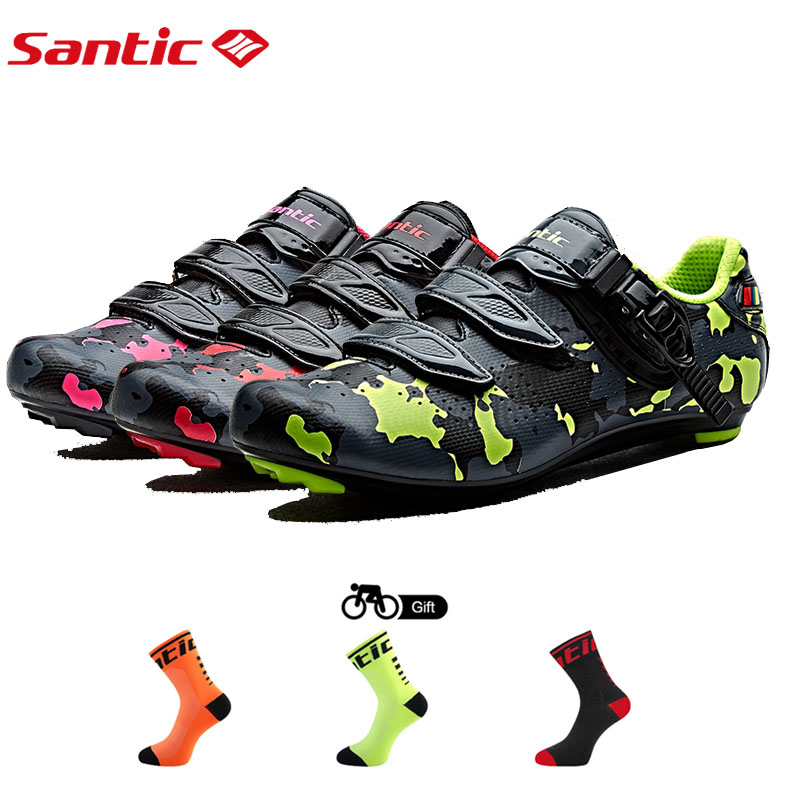 Santic Cycling Road Bike Shoes Breathable Carbon Fiber Cycling Athletic Racing Team Bicycle Shoes Sapatilha Zapatillas Ciclismo santic cycling shoes pro carbon fiber road cycling shoes road bike shoes rotate buckle bicycle shoe zapatillas ciclismo men