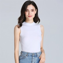 Women Vest 2019 Spring And Summer No Trace Rib Middle Collar Wide Shoulders Bottoming Feminino
