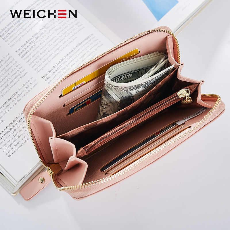 Weichen senhora carteira longa para mulheres marca zíper feminino carteiras dinheiro bolsa telefone celular bolso titular do cartão moeda saco das senhoras