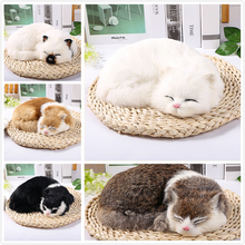 1pc Mini Cute Plush Cat Toys Animals sleeping cats Simulated animal model Doll Kids Girls Gifts Home Crafts