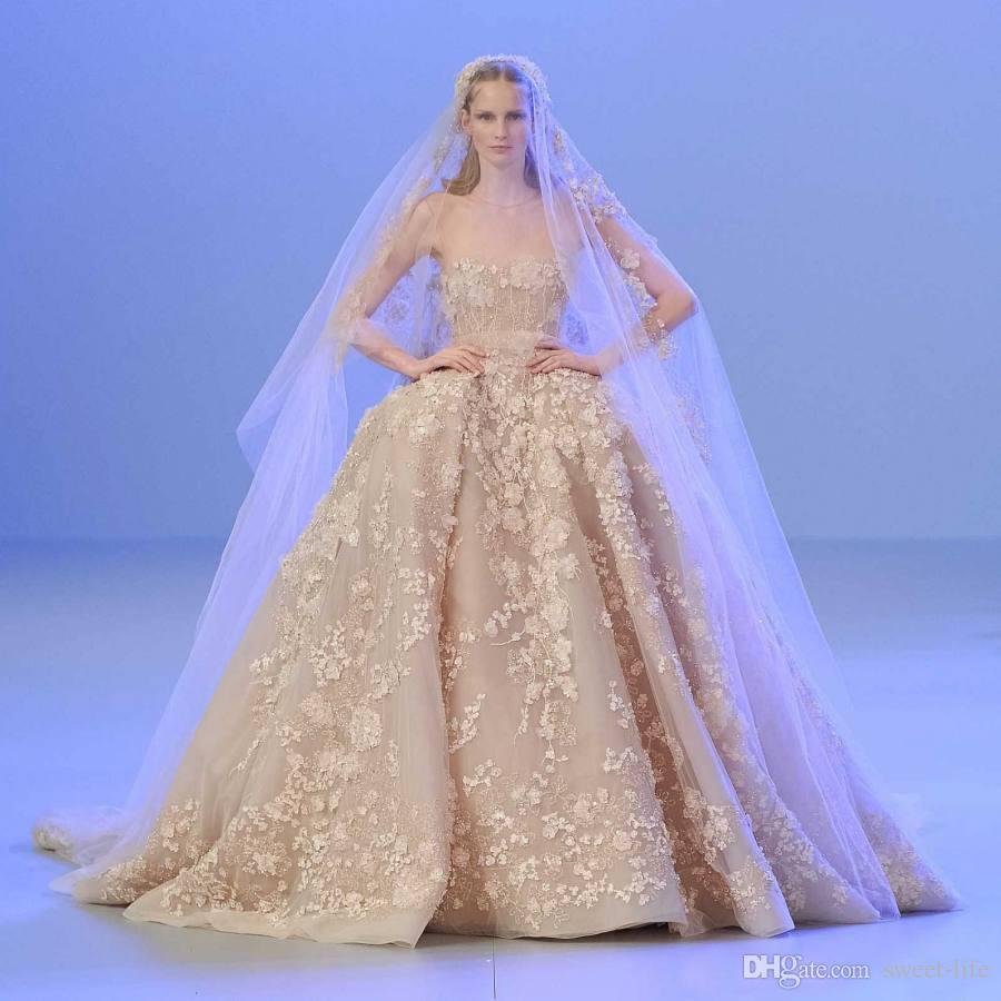 Dlass Luxury Elie Saab Lace  Wedding Dresses 3D Appliques Beads With Sheer Neck Bridal Dress Plus Size Bride Gown