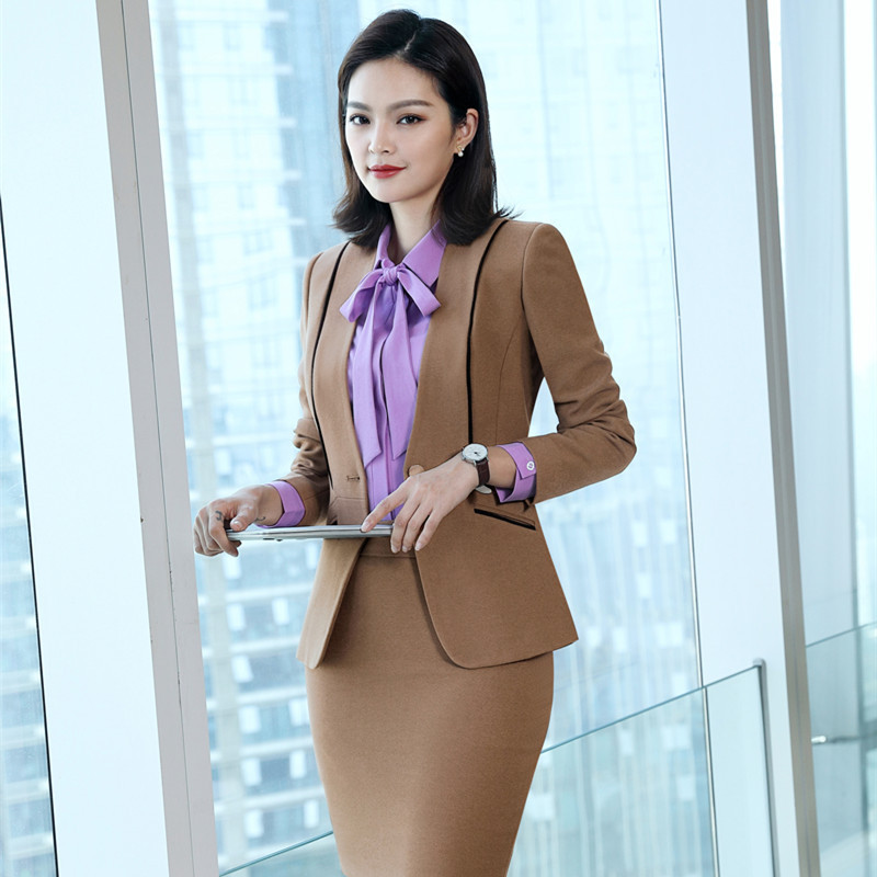 ZICFLY New Slim Office Clothes For Women Suits Skirts And Tops Elegant Business Blazer And Skirt Set Ropa De Oficina 2 Piece 4Xl