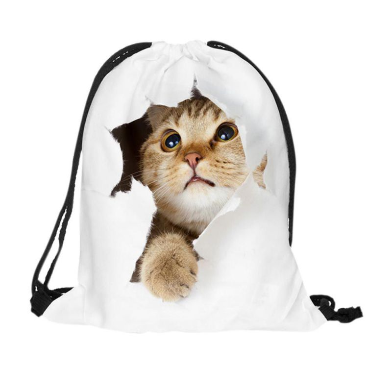 3D Waterproof Drawstring Storage Bag Cute Animals Digital Printing Polyester Toys Travel Shoes Laundry Lingerie Makeup Pouch