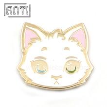 Глаза с разными цветами на лацкане высокое качество твердый эмалированный значок без моккастома белый милый кот